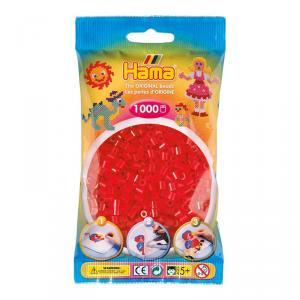 Hama Midi bolsa 1000 perlas Rojo translúcido