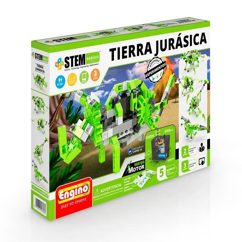 Construcción STEM héroes jurassic earth con motor