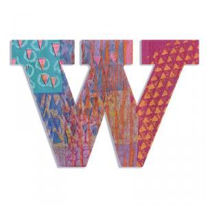 Letra de madera W pavo real
