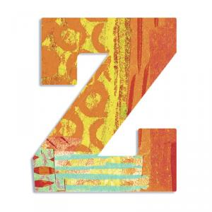 Letra de madera Z pavo real