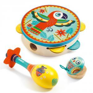 Set 3 instrumentos musicales de madera Animambo