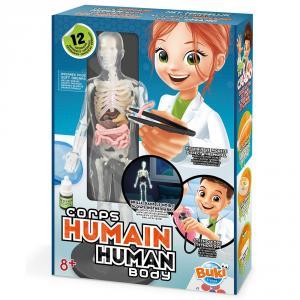 Cuerpo humano con accesorios y experimentos