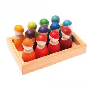 Set 12 figuras madera de colores