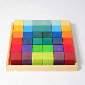 Construcción bloques madera rainbow mosaic 36 piezas