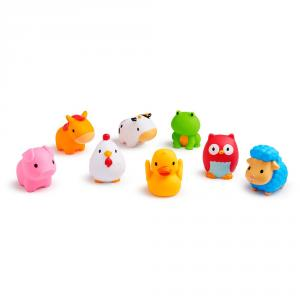 Set 8 animalitos granja lanzachorros juguete baño