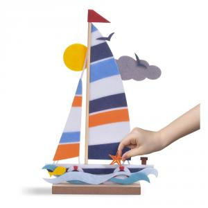 Kit crea barco con fieltro y madera