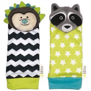 Set 2 calcetines sonajero erizo y mapache