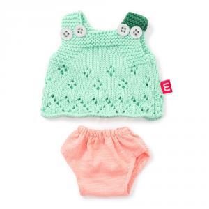 Conjunto vestido verde con pelele rosa 21cm