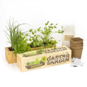 Kit cultivo ecológico jardinera madera Mediterráneo