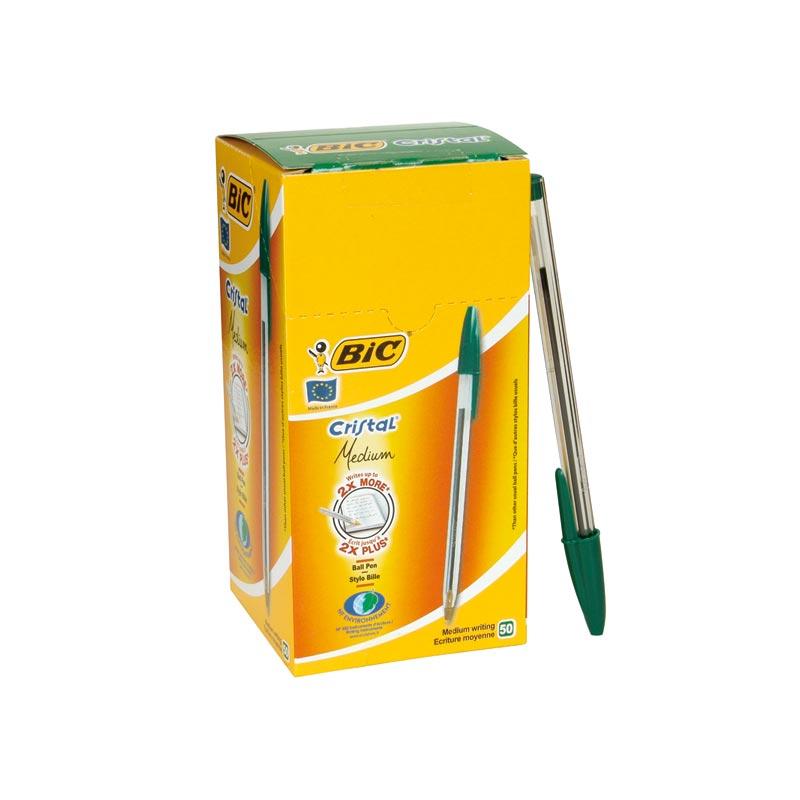 Bolígrafo Bic Cristal color verde caja de 50 unidades