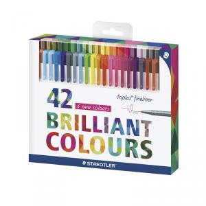 Rotulador triplus fineliner blíster 42 colores brillantes