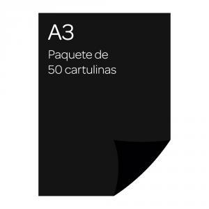 Cartulina A3 Iris 50 unidades negro