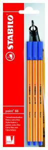 Rotulador Stabilo Point 88 blíster 3 azul