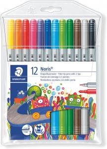 Rotuladores de dos puntas Staedtler. 12 colores