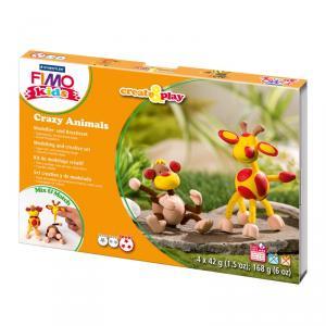 Kit pasta Fimo Kids crazy animals mono y jirafa