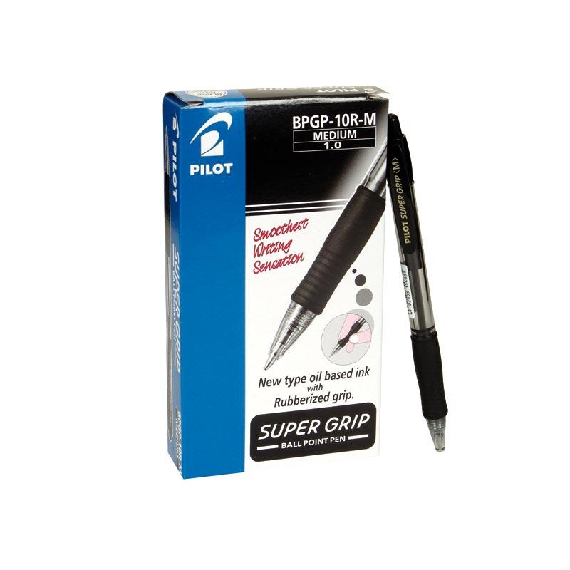 Bolígrafo Pilot Súper Grip color negro caja de 12 unidades