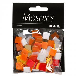Teselas mini mosaico 10x10x2mm rojo y naranja bolsa 25gr.