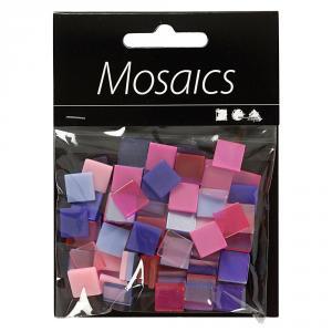 Teselas mini mosaico 10mmx10mm tonos lila y rosa bolsa 25gr.