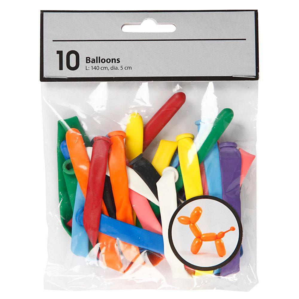 Globos colores para modelar formas 10 unidades