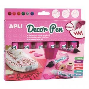 Rotulador gel Decor Pen 3D purpurina 6 colores