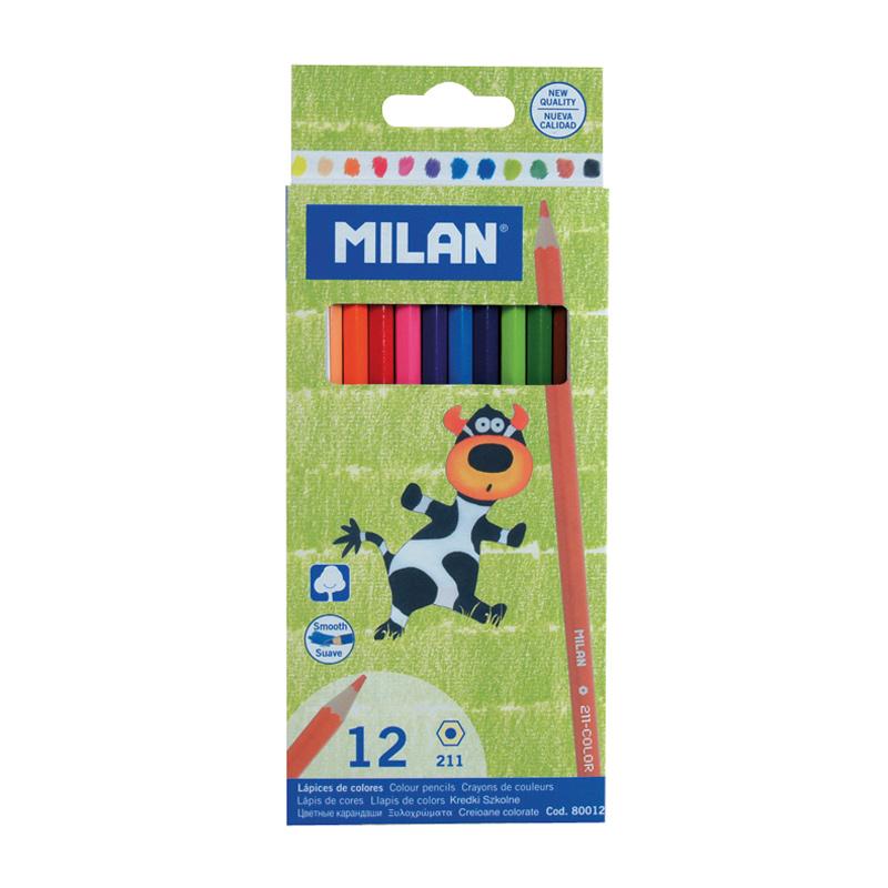 Caja 12 lápices de color. Milan