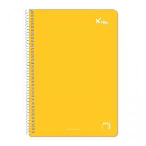 Cuaderno folio Xtra pauta 8mm. t. dura, colores surtidos 80hj.
