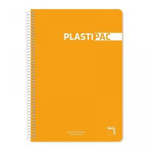 Cuaderno folio Plastipac PP raya 8mm. Colores surtidos 80hj.