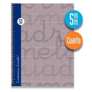 Cuaderno Cuadrovía Lamela cuarto 5mm 80h gris (T. dura)