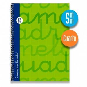 Cuaderno Cuadrovía Lamela cuarto 5mm 80h verde (T. dura)