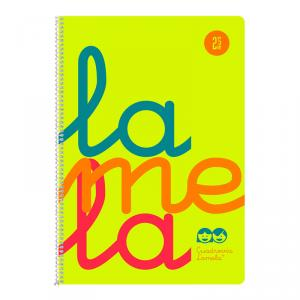 Cuaderno Cuadrovía Lamela folio 2,5mm 80h amarillo flúor (T. polipropileno)