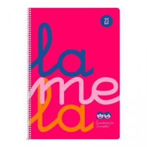 Cuaderno Cuadrovía Lamela folio 2,5mm 80h rosa flúor (T. polipropileno)