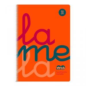 Cuaderno Cuadrovía Lamela folio 3mm 80h naranja flúor (T. polipropileno)