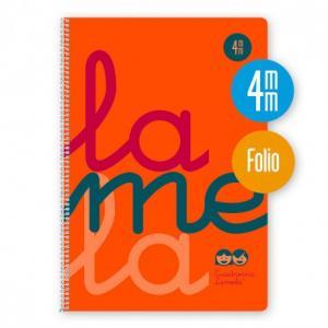 Cuaderno Cuadrovía Lamela folio 4mm 80h naranja flúor (T. polipropileno)