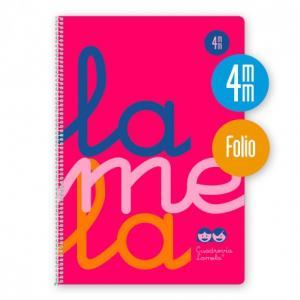 Cuaderno Cuadrovía Lamela folio 4mm 80h rosa flúor (T. polipropileno)