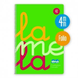 Cuaderno Cuadrovía Lamela folio 4mm 80h verde flúor (T. polipropileno)