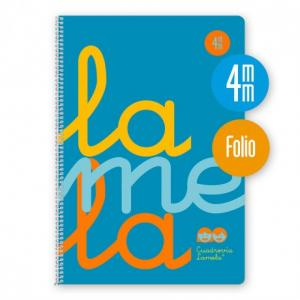 Cuaderno Cuadrovía Lamela folio 4mm 80h azul flúor (T. polipropileno)