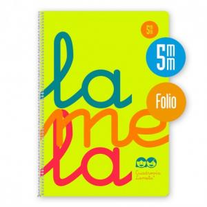 Cuaderno Cuadrovía Lamela folio 5mm 80h amarillo flúor (T. polipropileno)