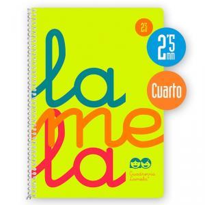 Cuaderno Cuadrovía cuarto 2,5mm. 80h amarillo fluor polipropileno
