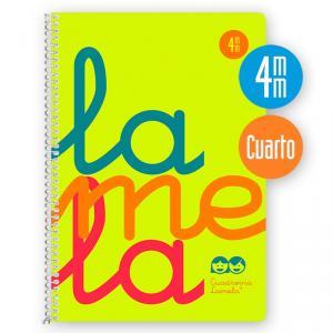 Cuaderno Cuadrovía 4mm cuarto 80h flúor amarillo (polipropileno)