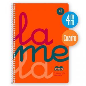 Cuaderno Cuadrovía 4mm cuarto 80h flúor naranja (polipropileno)