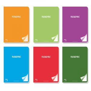 Cuaderno A4 liso Flexipac tapa PP 48hj 90gr (colores surtidos)