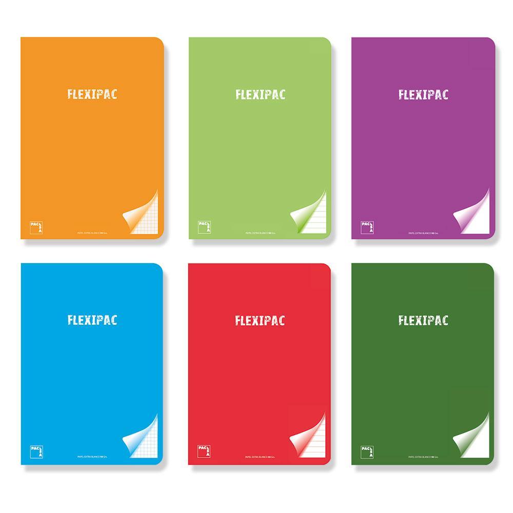 Cuaderno A5 liso Flexipac PP 48hj 90gr (colores surtidos)