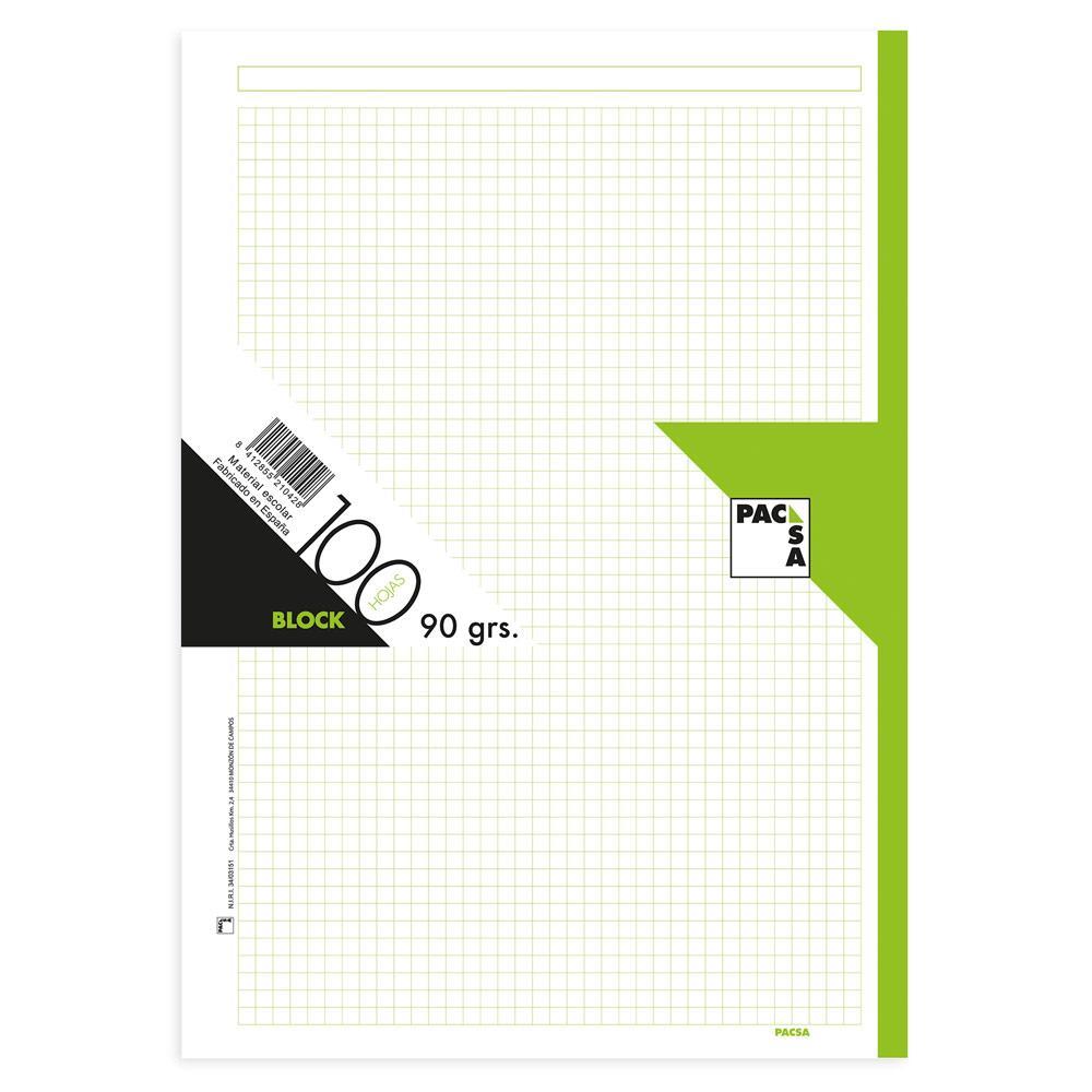 Recambio A4 cuadr 5x5 100hj 90gr 4 taladros borde verde