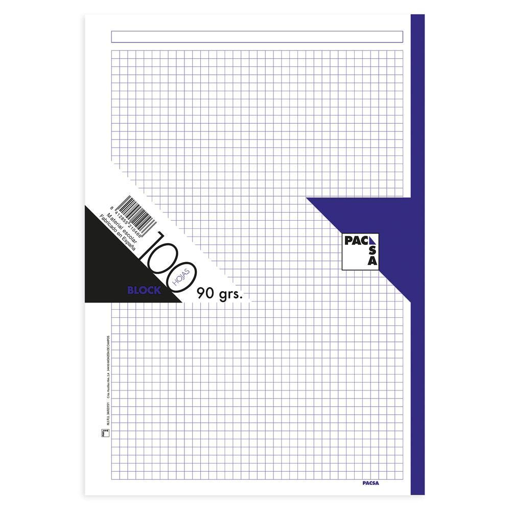 Recambio A4 cuadr 5x5 100hj 90gr 4 taladros borde violeta