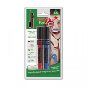 Maquillaje Liquid Liner 6gr blíster 2 unidades azul y rojo