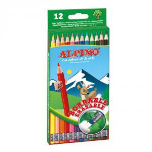Lápiz color Alpino borrable blíster 12 colores