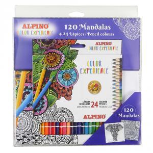 Set 24 lápices colores Alpino con libro 120 mandalas