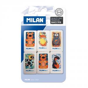 Goma Milán 436A animales blíster 6 unidades