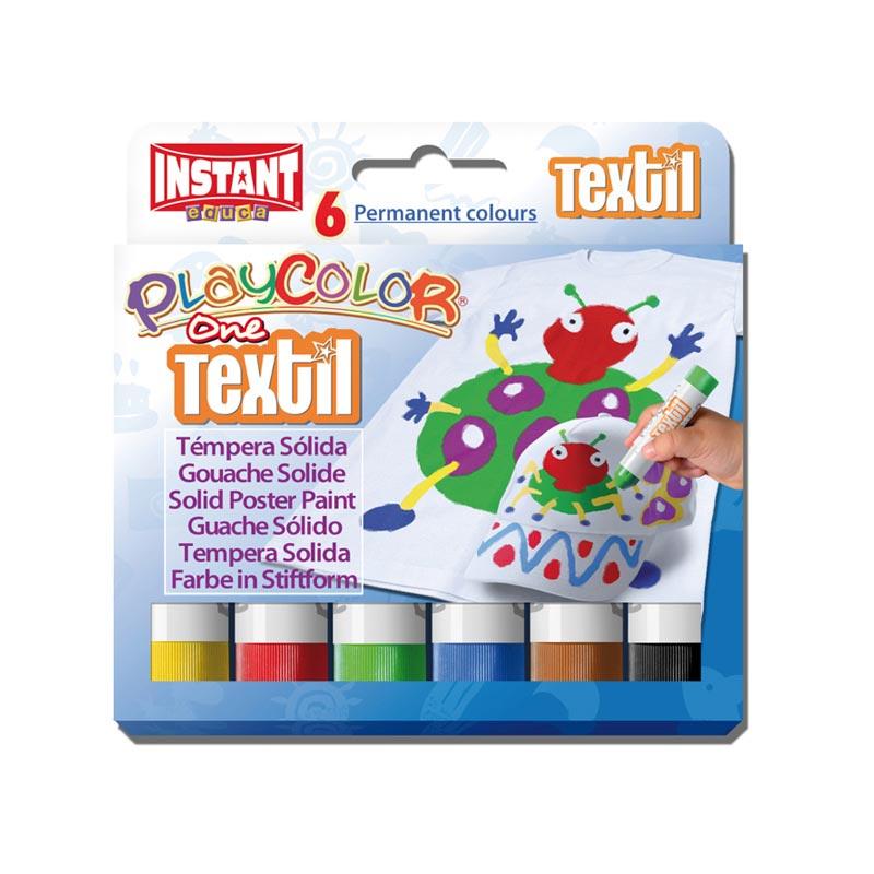 Témpera sólida Playcolor Textil One 6 colores