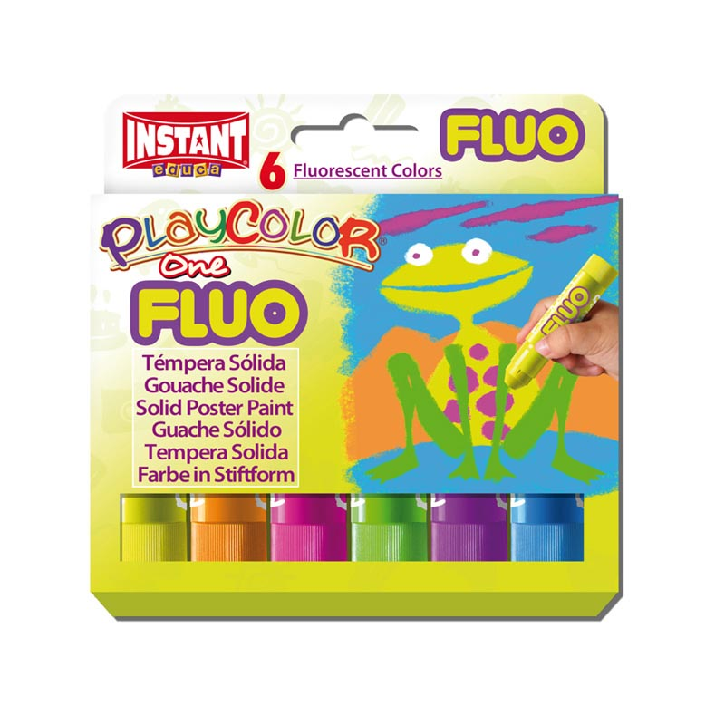 Témpera sólida Playcolor Fluo One 6 colores